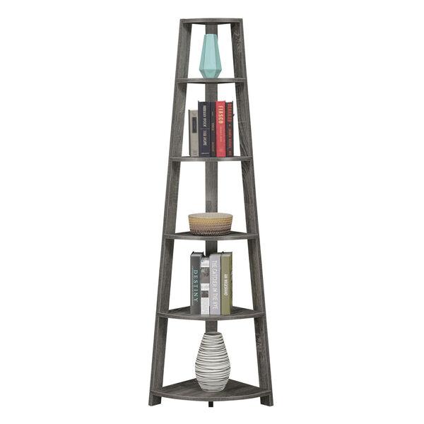 Newport Weathered Gray Five-Tier Corner Bookcase, image 3