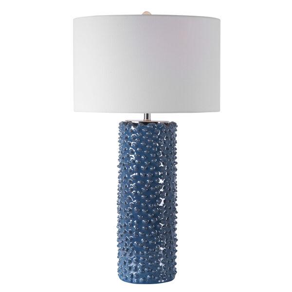 Ciji Indigo and White One-Light Table Lamp with Round Drum Hardback Shade, image 1