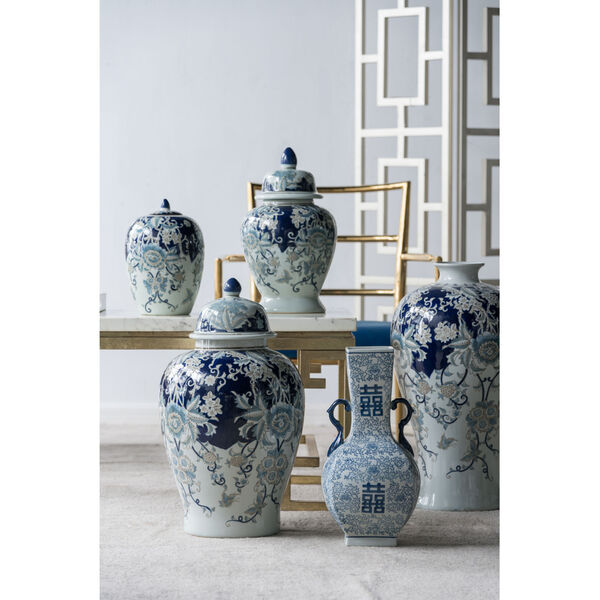 Bryn Blue, Gold And White Ginger Jar, image 2