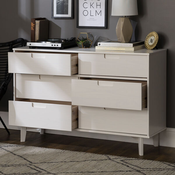 Sloane White Groove Dresser with Six Drawer, image 4
