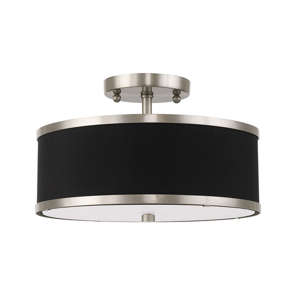 Park Ridge Brushed Nickel 13-Inch Two-Light Ceiling Mount with Hand Crafted Black Hardback Shade, image 2
