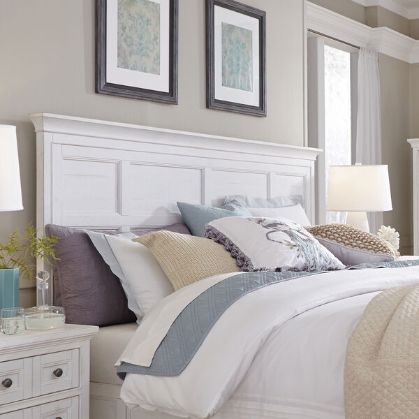 Heron Cove Relaxed Traditional Soft White King Panel Bed Headboard, image 1