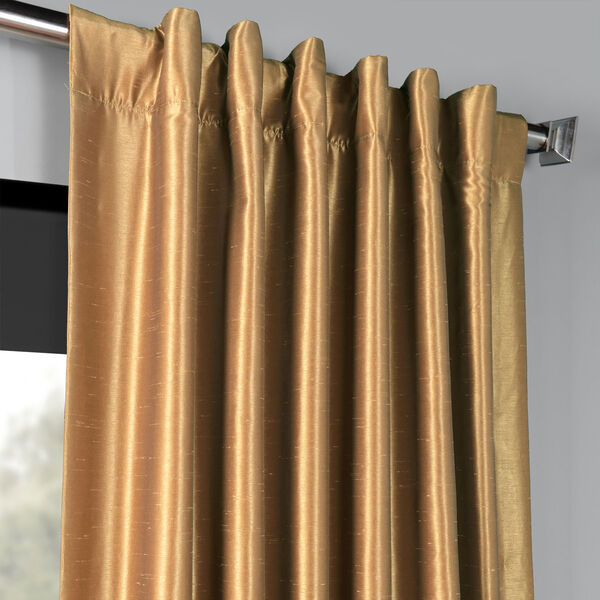 Flax Gold 50 x 108-Inch Blackout Vintage Textured Faux Dupioni Silk Curtain, image 4