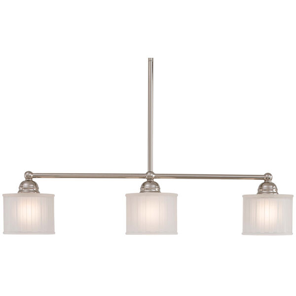 1730 Series Polished Nickel Three-Light Island Pendant with Etched Box Pleat Glass, image 1
