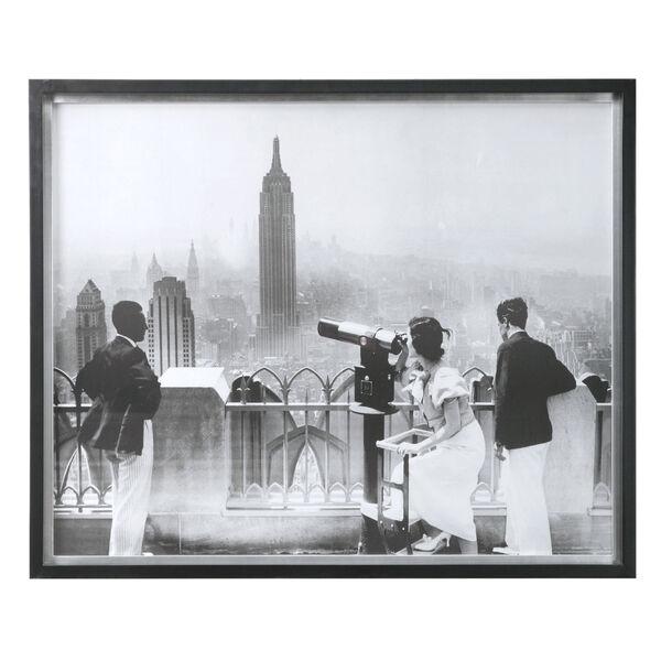 Manhattan View Matte Black with Silver Leaf Vintage Print, image 1