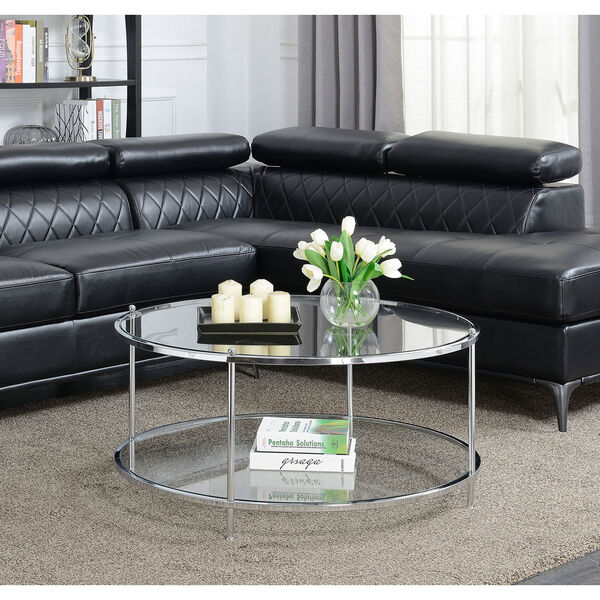 Royal Crest 2 Tier Round Glass Coffee Table in Clear Glass and Chrome Frame, image 3