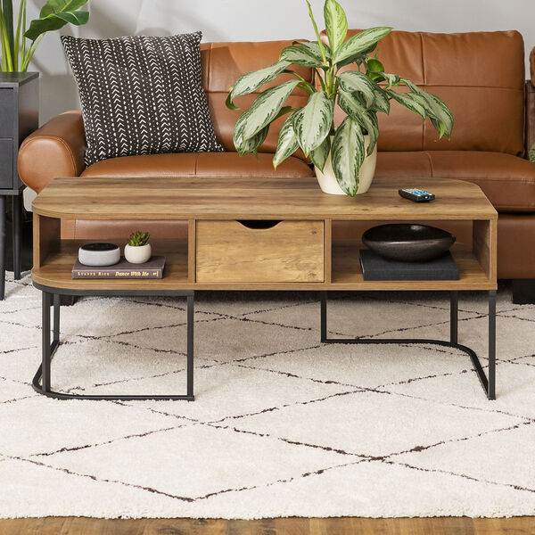 Jean Barnwood and Black Coffee Table with One Drawer, image 1