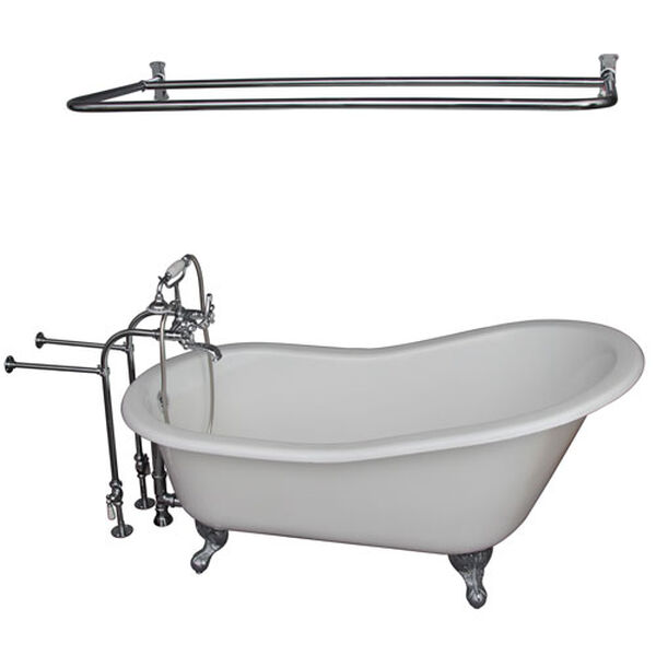 Polished Chrome Tub Kit 60-Inch Cast Iron Slipper, Shower Rod, Filler, Supplies, and Drain, image 1