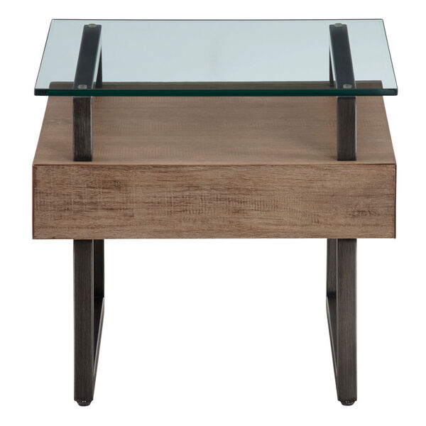 Slade Natural Rectangular End Table with Glass Top, image 2