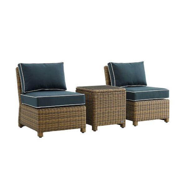 Bradenton Navy Weathered Brown Three-Piece Outdoor Wicker Chair Set, image 3