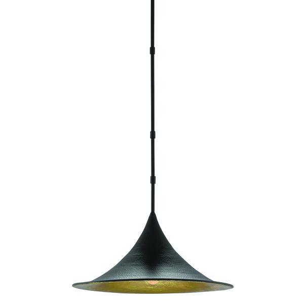 Aberfoyle Satin Black and Gold Leaf One-Light Pendant, image 1