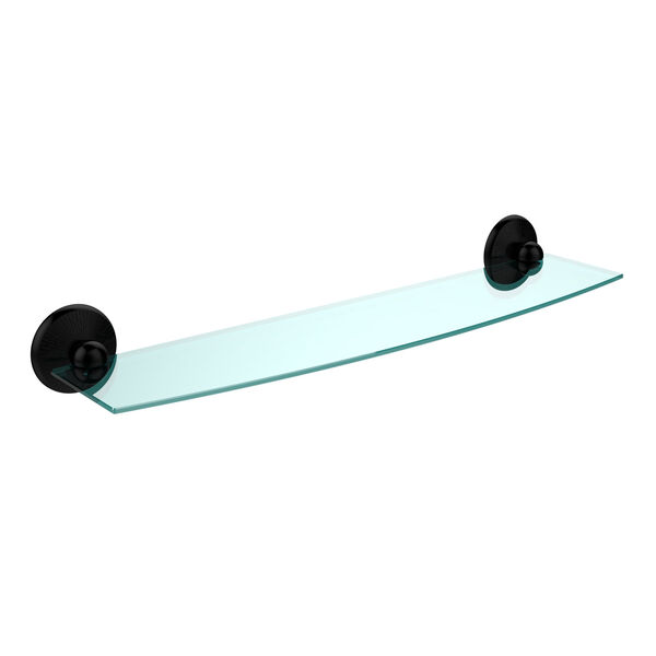 Monte Carlo Matte Black 24 Inch Beveled Glass Shelf, image 1