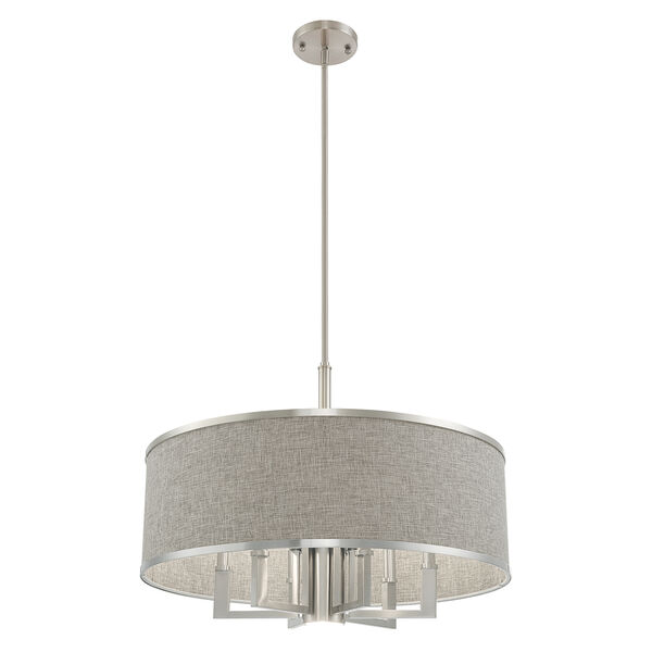 Park Ridge Brushed Nickel 24-Inch Seven-Light Pendant Chandelier with Hand Crafted Gray Hardback Shade, image 5