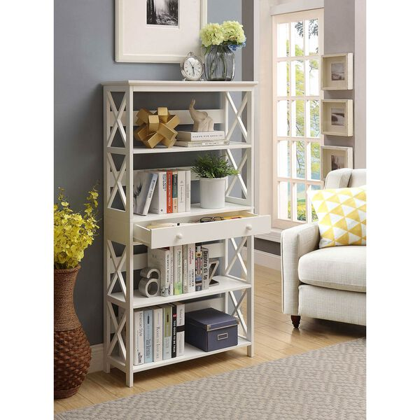 Oxford 5-Tier Bookcase with Drawer, White, image 1