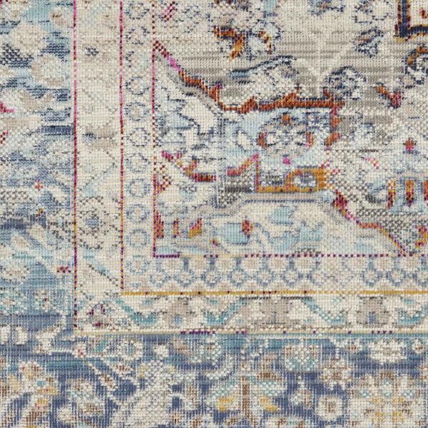 Vintage Kashan Ivory Blue Area Rug, image 6