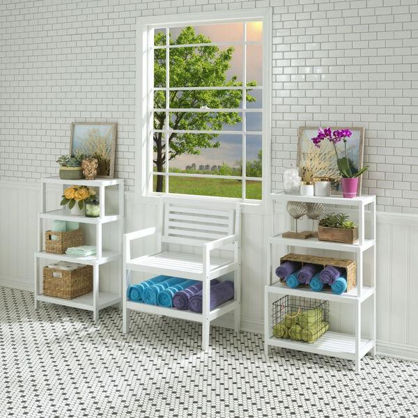 Dunnsville White 4-Tier Step Back Shelf Bookcase, image 4