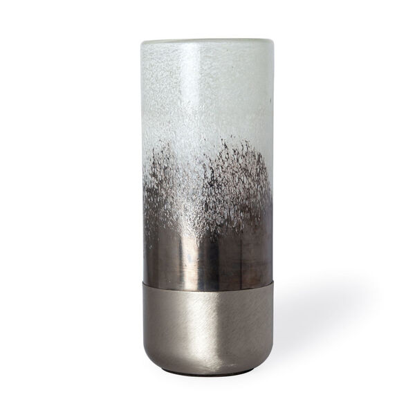 Baltic I White and Brushed Silver Glass Vase, image 1
