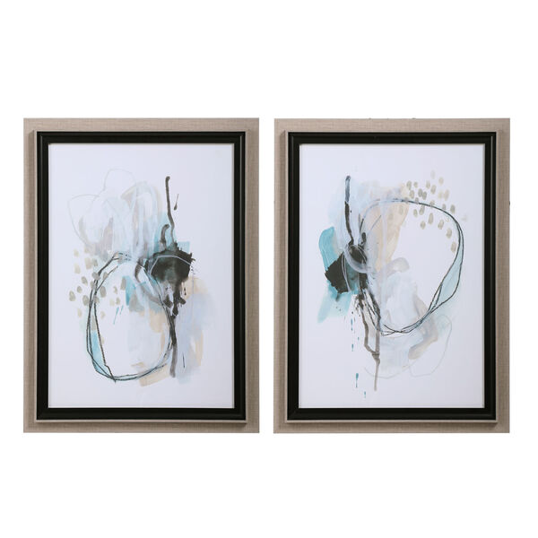 Force Reaction Gray and Blue Abstract Prints, Set of 2, image 2