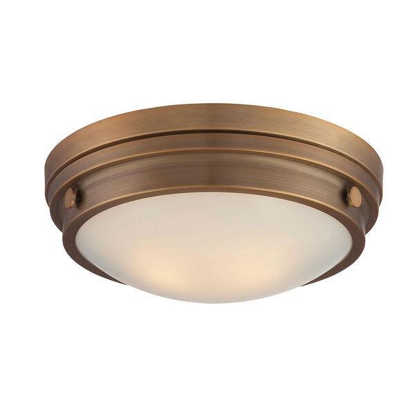 Lucerne Warm Brass 13.5-Inch Two-Light Flush Mount, image 1