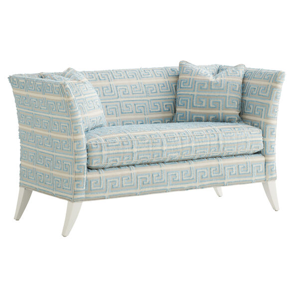 Avondale Blue and White Hampstead 60-Inch Settee, image 1