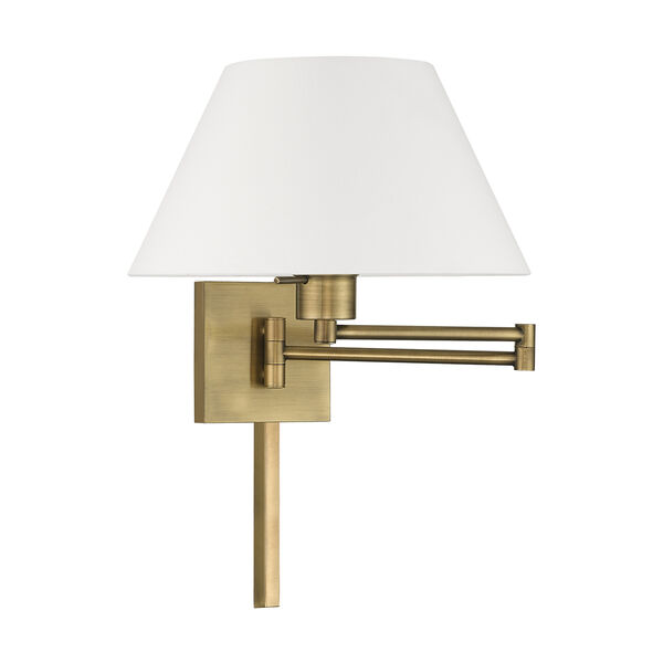 Swing Arm Wall Lamps Antique Brass 13-Inch One-Light Swing Arm Wall Lamp with Hand Crafted Off-White Hardback Shade, image 2