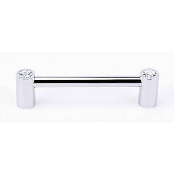 Contemporary Polished Chrome 4-Inch Crystal Pull, image 1