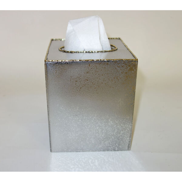 Frosted Nickel Gold Trimmed Tissue Box, image 1