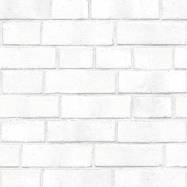 Brick White Textured 33 ft. L x 20.5 In. W Removable Wallpaper, image 1