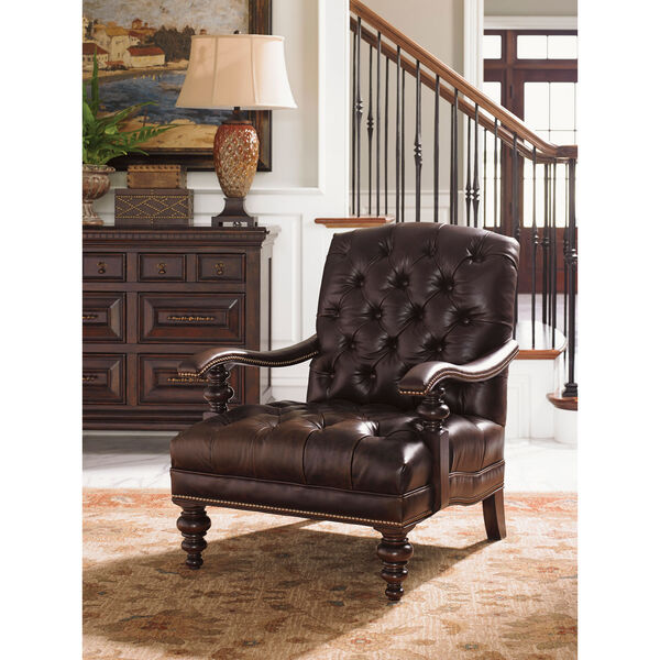 Tommy Bahama Upholstery Brown Acappella Leather Chair, image 2