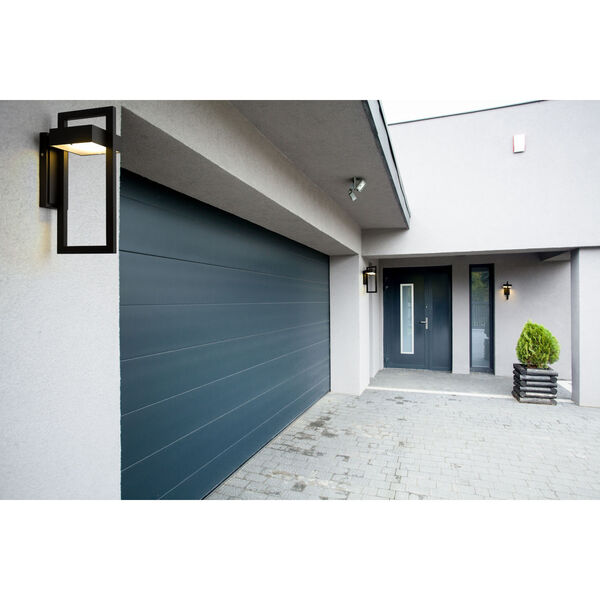 Luttrel Black 15-Inch LED Outdoor Wall Sconce with Frosted Glass, image 5