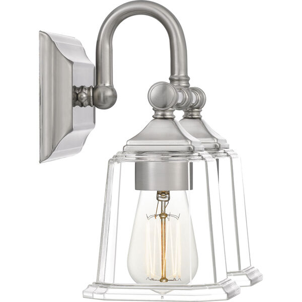 Nicholas Brushed Nickel Two-Light Bath Vanity with Transparent Glass, image 3