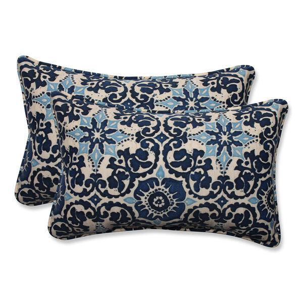 Outdoor Woodblock Prism Blue Rectangular Throw Pillow, Set of 2, image 1
