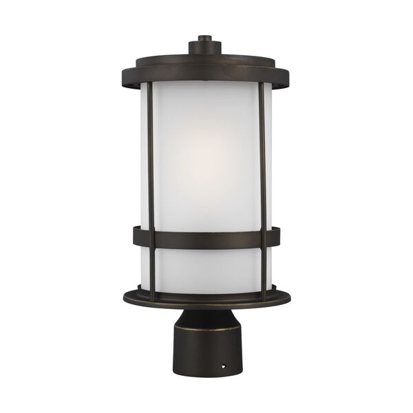 Wilburn Antique Bronze One-Light Outdoor Post Mount with Satin Etched Shade Energy Star, image 1