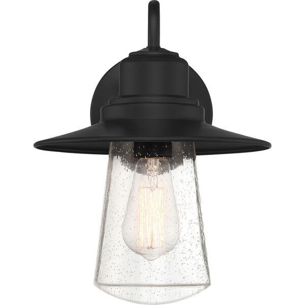 Radford Matte Black 10-Inch One-Light Outdoor Wall Sconce with Seedy Glass, image 4