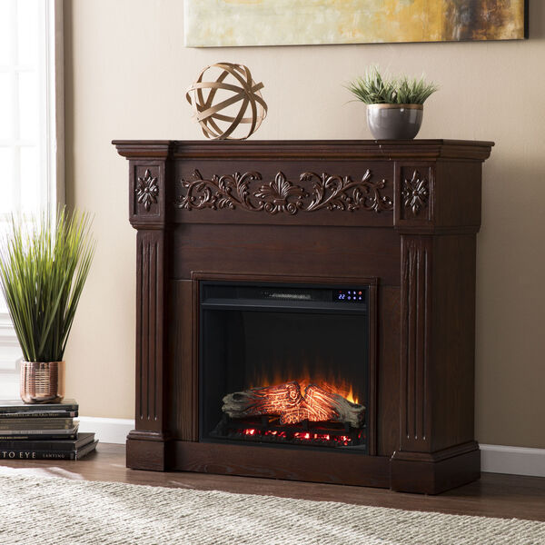 Calvert Rich espresso Carved Electric Fireplace, image 1