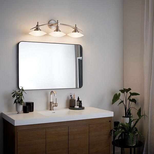 Brushed Nickel Three-Light Bath Fixture, image 4