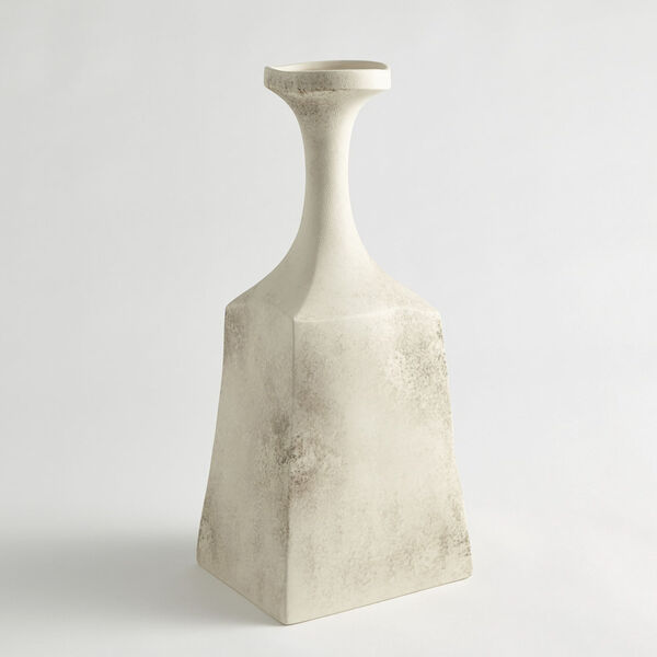 Matte Cream 6-Inch Rhombus Marble Vase, image 1