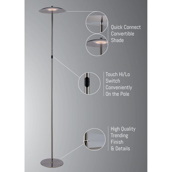 Torin Brushed Nickel LED Floor Lamp, image 6