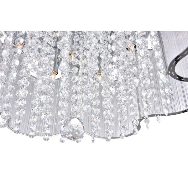 Spring Morning Chrome Seven-Light Drum Shade Flush Mount with K9 Clear Crystals, image 3