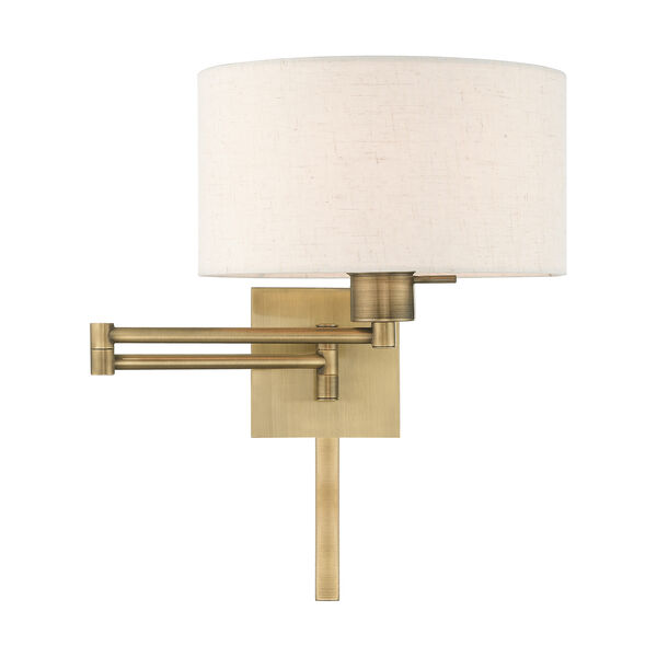 Swing Arm Wall Lamps Antique Brass 11-Inch One-Light Swing Arm Wall Lamp with Hand Crafted Oatmeal Hardback Shade, image 3