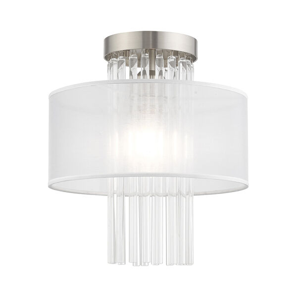 Alexis Brushed Nickel 11-Inch Ceiling Mount Transparent Crystal Rods Hand Crafted Translucent Fabric Shade, image 1