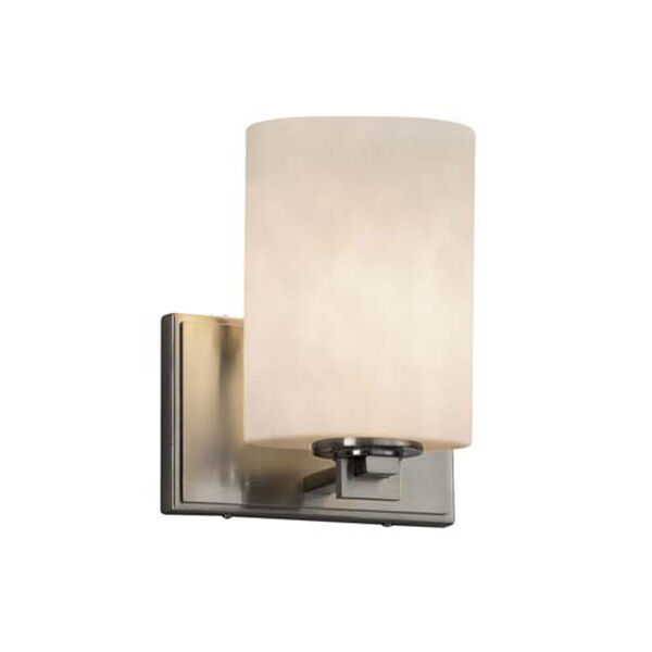 Clouds - Era Brushed Nickel LED LED Wall Sconce with Cylinder Flat Rim Clouds Shade, image 1