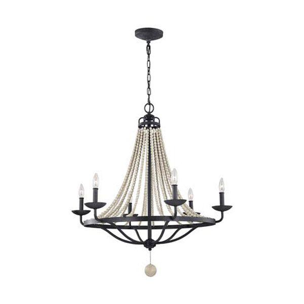 Birmingham Gray Six-Light Chandelier, image 1