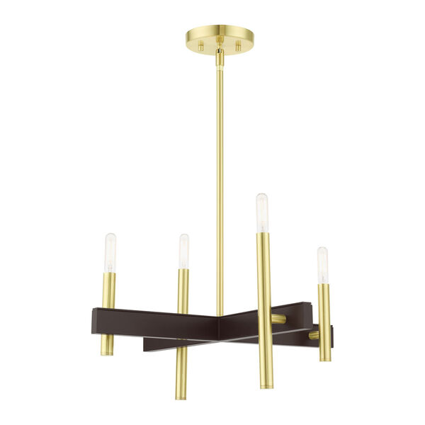Denmark Satin Brass Four-Light Chandelier, image 3