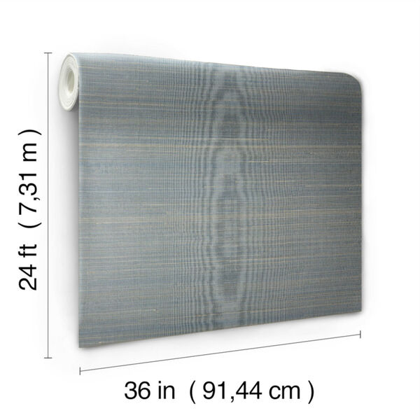 Antonina Vella Elegant Earth Blue Abaca Weaves Wallpaper, image 3