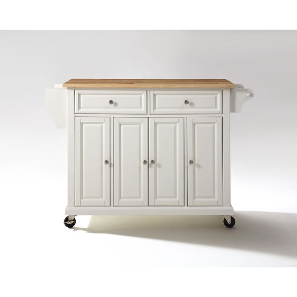 Natural Wood Top Kitchen Cart/Island in White Finish, image 2