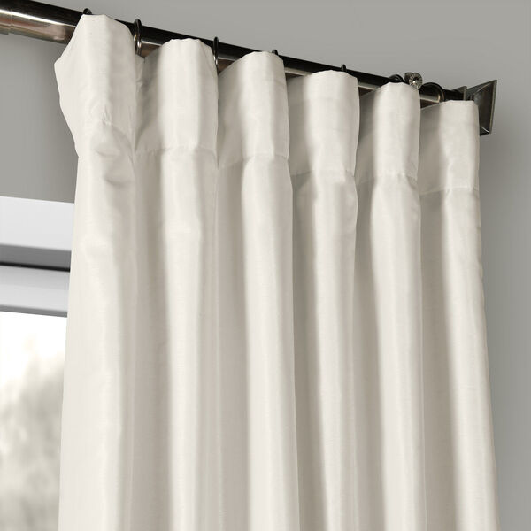 Off White Vintage Textured Faux Dupioni Silk Single Panel Curtain, 50 X 96, image 2