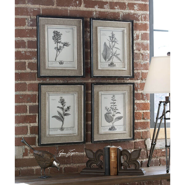 Casual Grey Study: 14.5 x 17.5 Wall Art, Set of Four, image 1