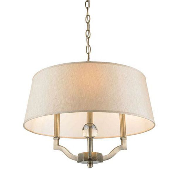 Waverly Antique Brass Convertible Semi-Flush with Silken Parchment Shade, image 4