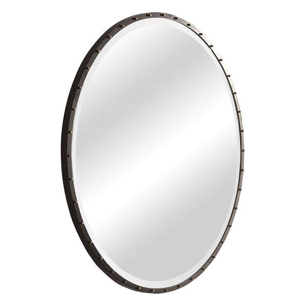 Benedo Rustic Black and Gold Round Mirror, image 4